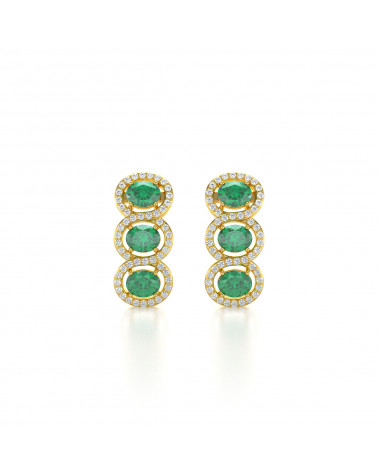 Pendientes  de Oro 14K Esmeralda y Diamantes ADEN - 1
