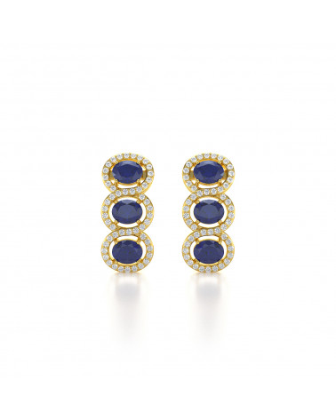 Orecchini in Oro 14K Zaffiro Diamanti ADEN - 1