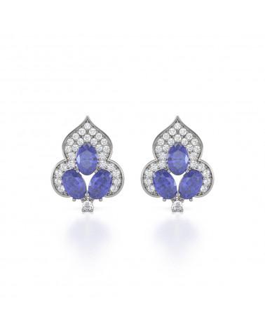 Pendientes Tanzanita Diamantes Plata de Ley 925 ADEN - 1