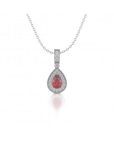 Collar Colgante Rubi y Diamantes Cadena Plata de Ley incluida ADEN - 1