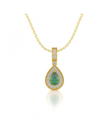 Collar Colgante de Oro 14K Esmeralda y Diamantes Cadena Oro incluida ADEN - 1