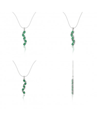 Collar Colgante Esmeralda y Diamantes Cadena Plata de Ley incluida ADEN - 2