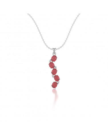 Collar Colgante de Oro 14K Rubi y Diamantes Cadena Oro incluida ADEN - 1