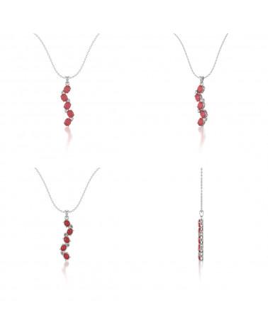 Collar Colgante de Oro 14K Rubi y Diamantes Cadena Oro incluida ADEN - 2