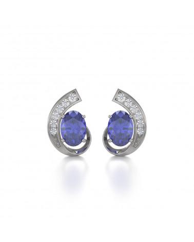 925 Silber Tanzanit Diamanten Ohrringe ADEN - 1