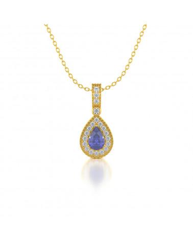 14K Gold Tanzanit Diamanten Halsketten Anhanger Goldkette enthalten ADEN - 1