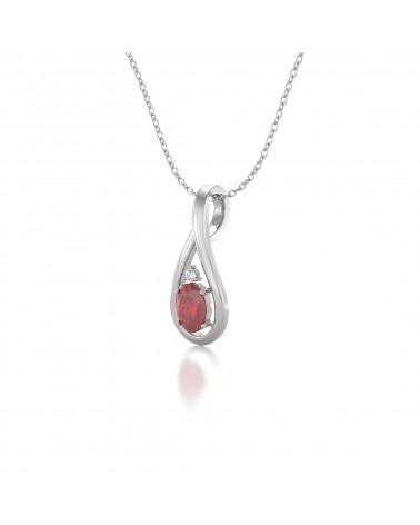 Colgante Pendente in Oro 14K Rubino Diamanti Catena Oro inclusa ADEN - 3
