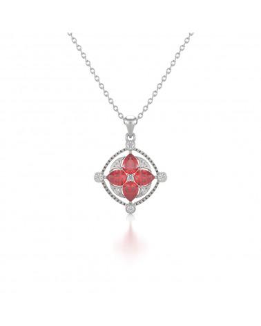 Colgante Pendente in Oro 14K Rubino Diamanti Catena Oro inclusa ADEN - 1