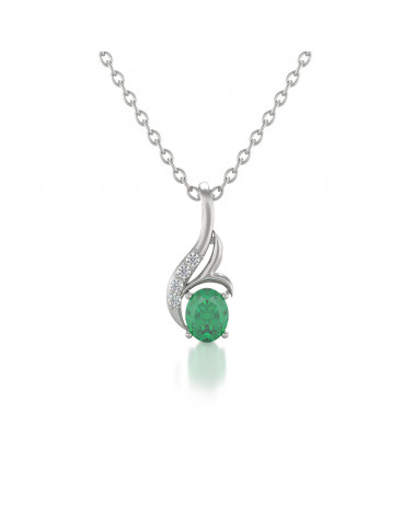 925 Silver Emerald Diamonds Necklace Pendant Chain included ADEN - 1