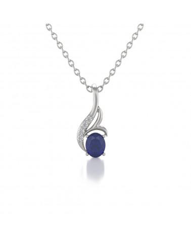 Collar Colgante Zafiro y Diamantes Cadena Plata de Ley incluida ADEN - 1