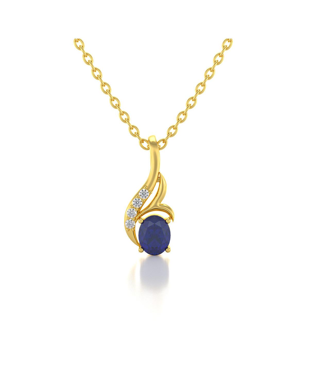 Colgante Pendente in Oro 14K Zaffiro Diamanti Catena Oro inclusa