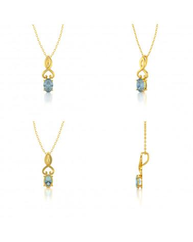 Collar Colgante de Oro 14K Aguamarina Cadena Oro incluida ADEN - 2