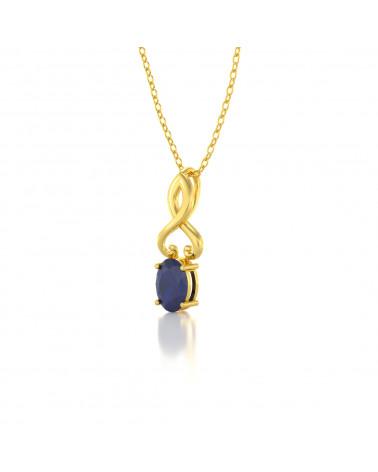 Collar Colgante de Oro 14K Zafiro Cadena Oro incluida ADEN - 3