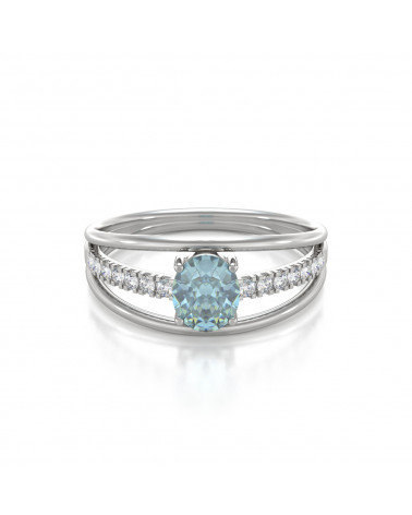 Anelli Oro Acquamarina diamanti ADEN - 3
