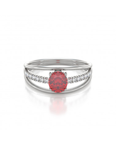 Anelli Rubino diamanti Argento 925 ADEN - 3