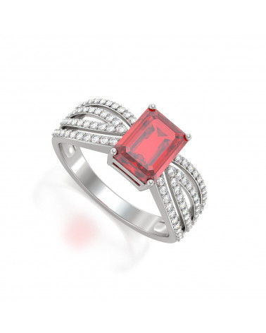 925 Silber Rubin Diamanten Ringe ADEN - 1