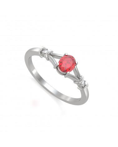 925 Silver Ruby Diamonds Ring ADEN - 1