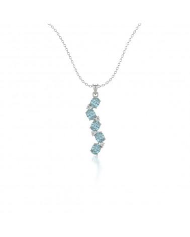 Colgante Pendente Acquamarina Diamanti Catena Argento inclusa ADEN - 1