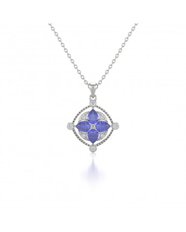 Colgante Pendente Tanzanite Diamanti Catena Argento inclusa ADEN - 1