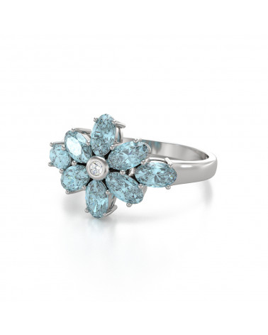 Anillo Aguamarina y diamantes Plata de Ley 925 ADEN - 4