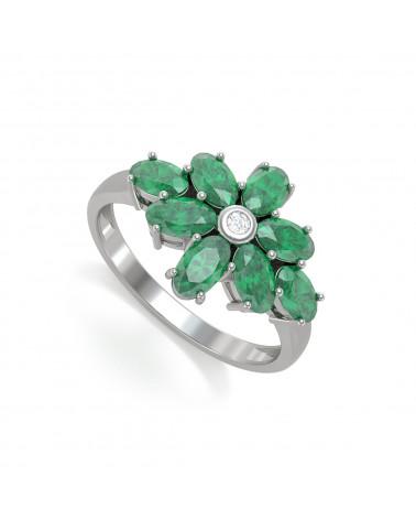 Anelli Oro Smeraldo diamanti ADEN - 1