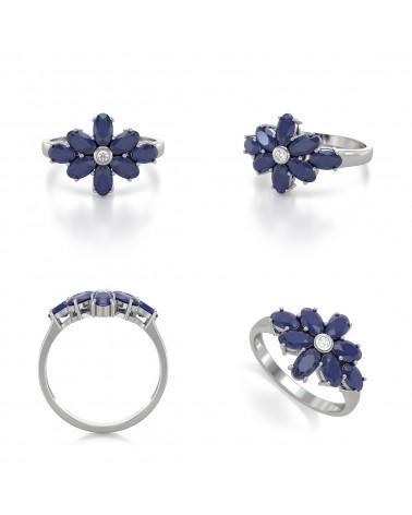 Anillo Zafiro y diamantes Plata de Ley 925 ADEN - 2