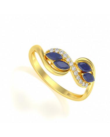 Anelli Oro Zaffiro diamanti 1.546grs ADEN - 1