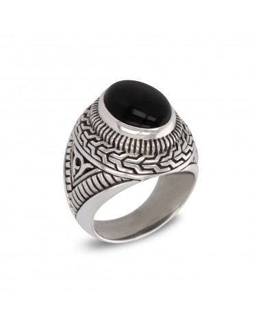 Antique effect 925 Sterling Silver Onyx Biker Ring ADEN - 1