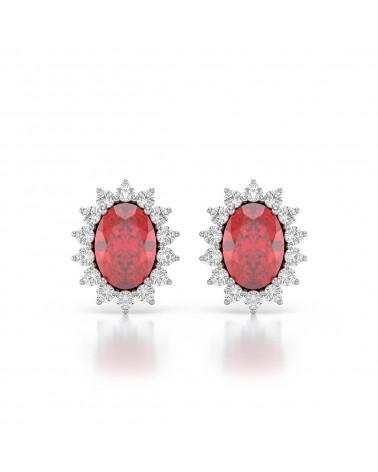 Orecchini in Rubino Diamanti Argento 925 ADEN - 1