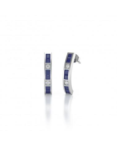 Pendientes Zafiro y Diamantes Plate de Ley 925 ADEN - 1