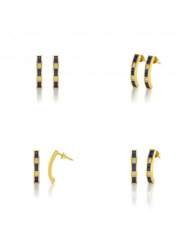 Pendientes  de Oro 14K Zafiro y Diamantes ADEN - 2