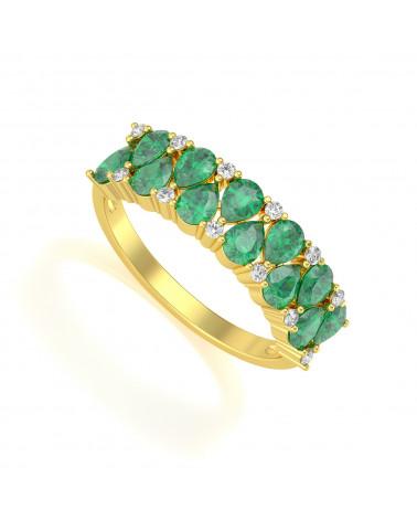 Anillo de Oro Esmeraldas y diamantes 2.29grs ADEN - 1