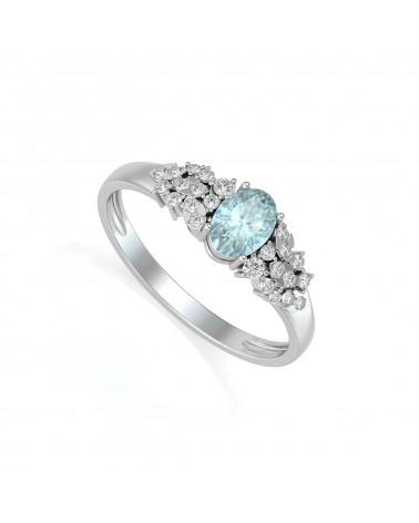 Anelli Acquamarina diamanti Argento 925 ADEN - 1