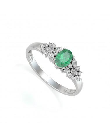 Anelli Smeraldo diamanti Argento 925 ADEN - 1