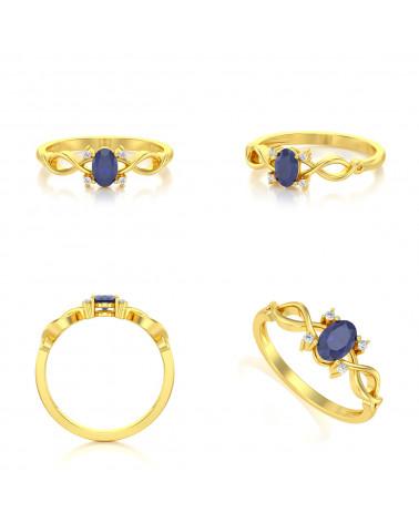 Anillo de Oro Zafiro y diamantes ADEN - 2
