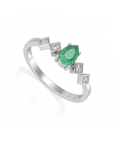 Anillo de Oro Esmeraldas y diamantes 1.296grs ADEN - 1