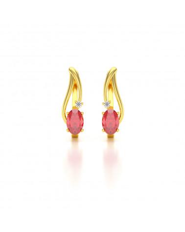 Orecchini in Oro 14K Rubino Diamanti ADEN - 1