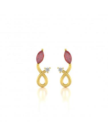 Pendientes  de Oro 14K Rubi y Diamantes ADEN - 1