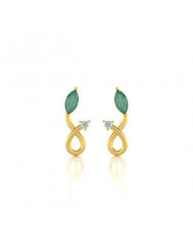 14K Gold Smaragd Diamanten Ohrringe ADEN - 1