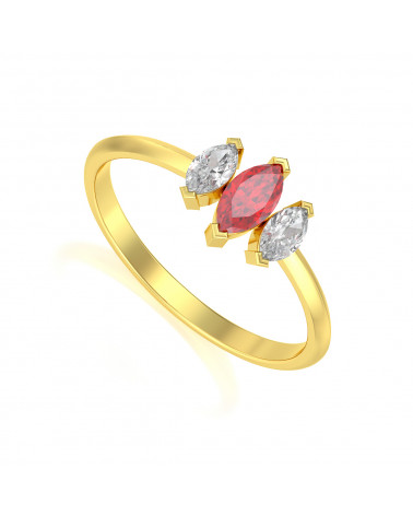 Gold Rubin Diamanten Ringe ADEN - 1