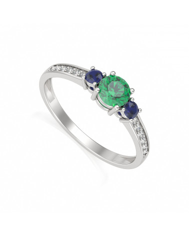 925 Silber Smaragd Diamanten Ringe ADEN - 1