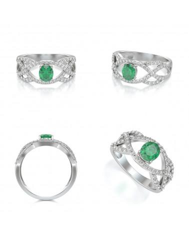 Anelli Oro Smeraldo diamanti ADEN - 2