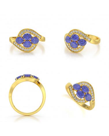 Anillo de Oro Tanzanita y diamantes ADEN - 2