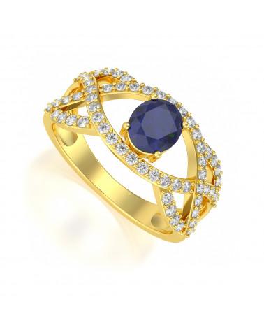 Anillo de Oro Zafiro y diamantes ADEN - 1