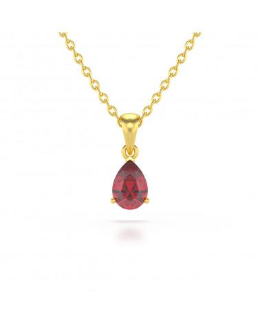 Collar Colgante de Oro 14K Rubi Cadena Oro incluida ADEN - 1