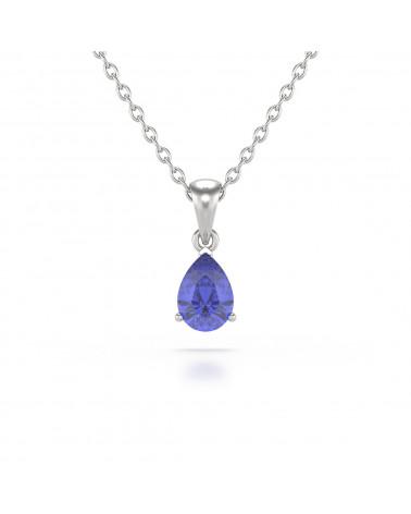 Collar Colgante Tanzanita y Diamantes Cadena Plata de Ley incluida ADEN - 1