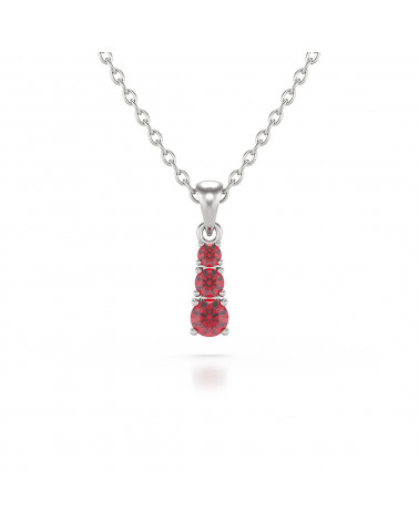 925 Silver Ruby Necklace Pendant Chain included ADEN - 1
