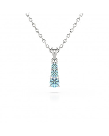 925 Silver Aquamarine Necklace Pendant Chain included ADEN - 1