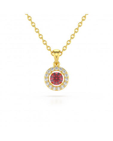 14K Gold Ruby Diamonds Necklace Pendant Gold Chain included ADEN - 1