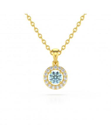 14K Gold Aquamarine Diamonds Necklace Pendant Gold Chain included ADEN - 1